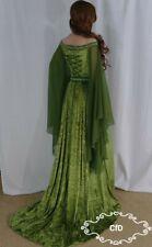 medieval wedding dress, green celtic gown in crushed velvet, off the shoulder.