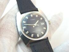 "TIMEX,Manual Wind ""Purple&Blue Swirl Dial""Date/Just,Plum Leather,MENS WATCH,1359"