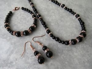 Rose Gold Plated Black Glass Pearl Necklace Bracelet & Earring  (ga33a)