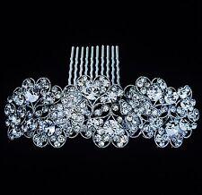 USA HAIR COMB use Swarovski Crystal Wedding Bridal Dancer French Twist Silver Q5