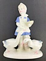 Antique Vtg Graefenthal East German Porcelain Sculpture Girl & Geese 1949-1951