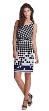 ESPRIT Satin-Kleid gepunktet 34 XS festlich Party Punkte blau Dress Etuikleid