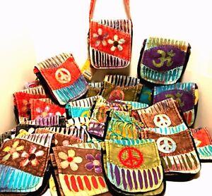 Small Messenger Bag Bohemian Crossbody Style Karma Circle USA Colors Vary