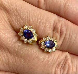 AAA Tanzanite & White Zircon Earrings / Certificate / 1.40 Ct / New