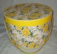 Vintage Yellow Roses Hat Box Floral Wallpaper Style with Braided Cord Handle