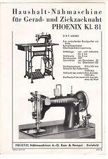 Prospekt Phoenix Kl. 81 Nähmaschine für Gerad - & Zickzacknaht 1937 Bielefeld (D