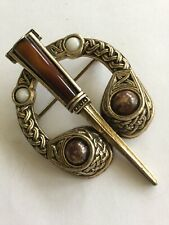Vintage Miracle Brooch, Penannular Scottish Celtic, glass agate, signed