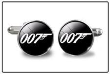 007 JAMES BOND luxury cufflink set - round silver chrome steel cufflinks unique