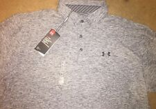 NEW Mens Under Armour Playoff Polo Shirt, Grey Heather  Large