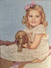 Jigsaw Puzzle Little Pals Girl Puppy Dog Spaniel Perfect Picture 250+ pcs 1950s