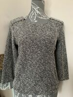 Ladies Red Herring Black White Silver Fluffy Jumper Zip Shoulders Size 10