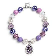 Vcmart Amulet Teardrop Amethyst Necklace Chunky Bubblegum Bead For Kids Toddler