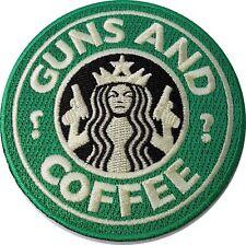 Guns & Coffe Starbucks Mermaid Rockabilly Horror Tattoo Goth Punk Rock Patch
