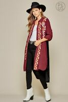 Plus Boho ANDREE BY UNIT Embroidered Velvet Duster Cardigan Top Tunic1X 2X 3X