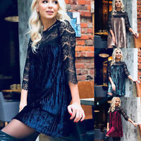 Womens Lace O Neck Pleate Dress Hollow 3/4 Sleeve Party Dresses shan