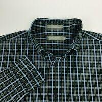 Daniel Cremieux Mens Button Down Shirt Size Large Blue Green Check Long Sleeve