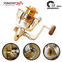 12BB Spinning Fishing Reel EF500-EF9000 Metal Spool Folding Arm Left Right 5.2:1