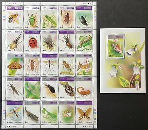 BHUTAN INSECTS STAMPS SHEETS 1997 MNH LADYBUG BUTTERFLY BEE DRAGONFLY BEETLE BUG