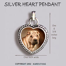 Shar Pei Dog - Ornate Heart Pendant Tibetan Silver