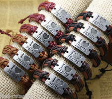 12x/lot mens bracelets real cow leather jewelry I LOVE JESUS for Christs