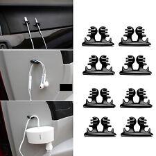 8PCS Car Black Wire Cord Clip Drop Cable Holder Tidy Organizer lead USB Cables