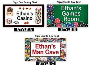 MAN CAVE SIGN For Games Room, Poker, Casino Theme PERSONALISED TEXT