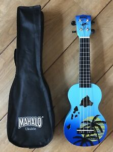 Mahalo Designer Series, Hawaii Ukulele In Blue With Aquila Strings