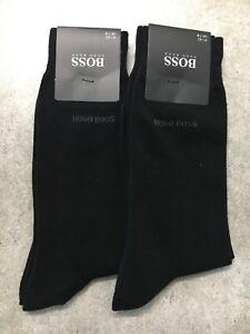 New 2 pairs HUGO BOSS Black Color Classic Dress Socks US Size 7-9