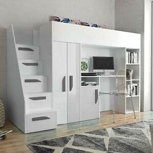 Hochbett Party XIV Kinderbett mit Schreibtisch und Kleiderschrank Bett Modern