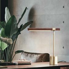 Slim Table Lamp Adjustable LED Desk Light Wood Brass for...