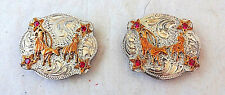 Team Roping Conchos Pair Red Stones Sterling Silver Overlay Carlos Horse Tack