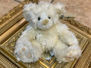"FIRST & MAIN FUZZY FURRY WHITE 9"" TEDDY BEAR SCHNOOKUM 1084  NEW NWT"