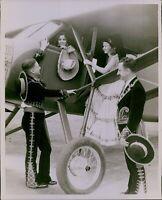 LG877 1930s Original Photo BEAUTIFUL LADIES FLYING PLANE Cockpit Mariachi Men