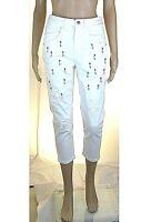 Jeans Donna Pantaloni Capri TOY G by PINKO I327 Bianco Tg 40 42 44 veste grande
