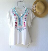 New~White Embroidered Peasant Blouse Aqua Blue Pink Shirt Boho Top~Size Medium M