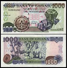 GHANA 1000 1,000 CEDIS AUGUST 2003 P 32 UNC AFRICAN MONEY