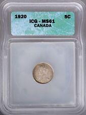 1920 Canada Silver 5 Cents ICG MS61