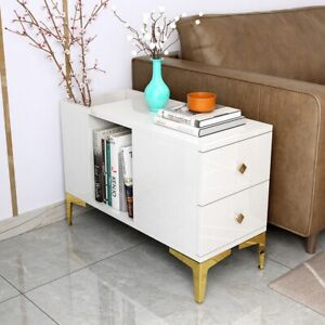Modern White End Table with Storage Side Table Metal Home Living Room Furniture