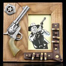 Western Holz Bilderrahmen - Colt - Cowboy Pistole Revolver Patronen