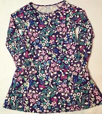 Lands End Kids Size 4 Years Purple Multi-colored Floral Long Sleeve Cotton Dress