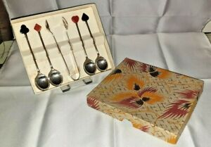 """Boxed Set of 4 Vintage Sheffield EPNS """"Card Suits"""" Coffee Spoons + Tongs REDUCED"""