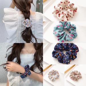 1Pcs Vintage Hair Rope Ponytail Holder Rubber Bands Floral Scrunchie Elastic