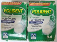 2 Pack - Polident Overnight Whitening Antibacterial Denture Cleanser, 84 Tablets