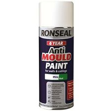 Ronseal 6 Year Anti Mould Aerosol White Matt Paint for Walls and Ceilings 400ml