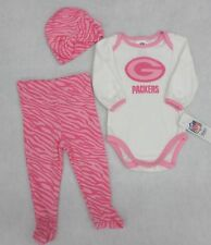 NFL Green Bay Packers Girls Pink and White Creeper, Pants and Cap 0-3 M