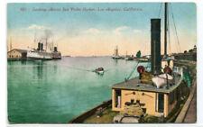 San Pedro Harbor Boats Ships Los Angeles California 1910c postcard