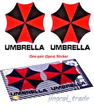 Pair (2 pcs) Polished Chrome Umbrella Corporation Car Sticker Decal Red & Black