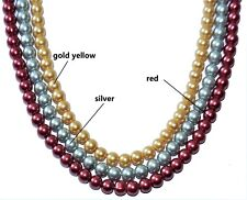 a string glass pearl beads, gold yellow, red, silver, round, 6 mm & 8 mm