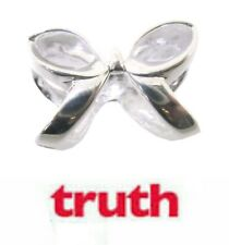 Genuine TRUTH sterling silver PK 925 bow tie ribbon bracelet charm & sleeve