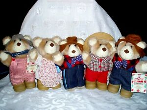 """Vintage 1986 LOT OF 5 """"WENDY'S HAMBURGER FURSKINS BEARS"""" All with tags"""